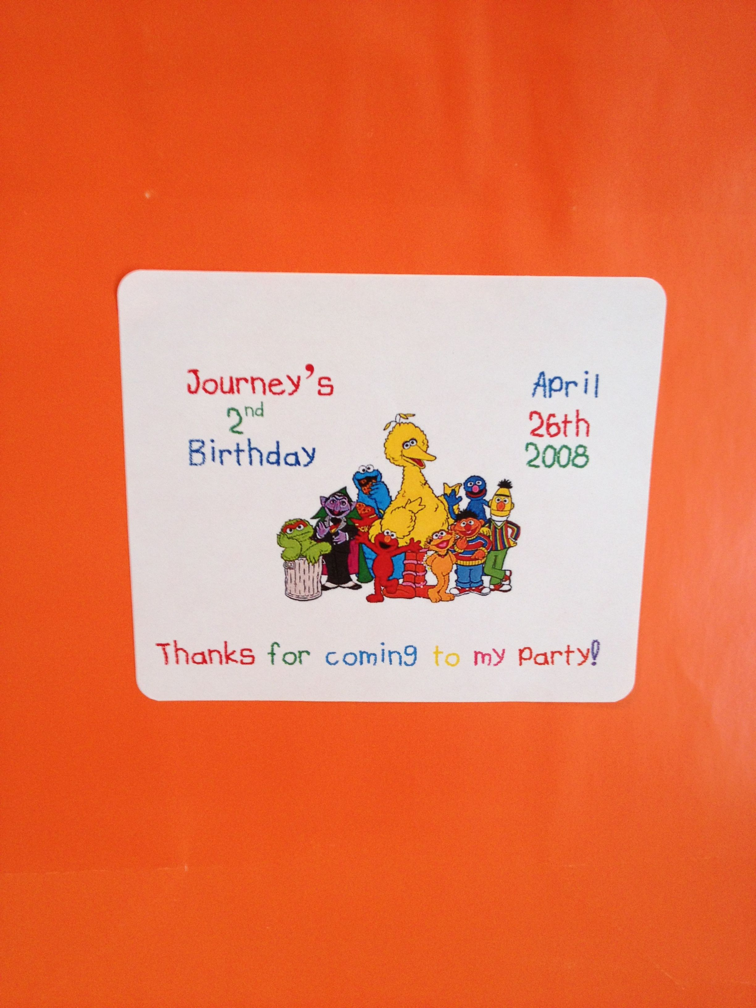 Sesame st thank you sticker